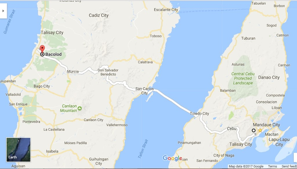 The route from Cebu to Bacolod Ceres